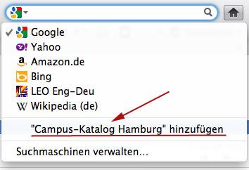 Campus-Katalog in Firefox-Suchfenster aufnehmen