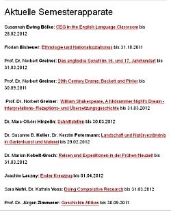 Übersicht der aktuellen Semesterapparate auf unserer Website: Stand: 7.10.2011