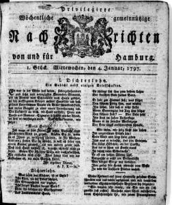 Titelseite einer Ausgabe d. Hamburger Nachrichten vom 4.1.1797