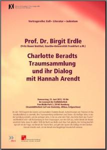 Vortrag Prof. Erdle: Charlotte Beradts Traumsammlung und ihr Dialog mit Hannah Arendt