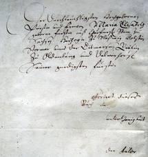 Olearius' handschriftliche Widmung für die Herzogin