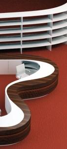 Ausschnitt aus dem Modell der Theke Informationszentrum