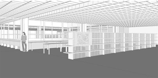Regalwand im Informationszentrum mit Infoscreen