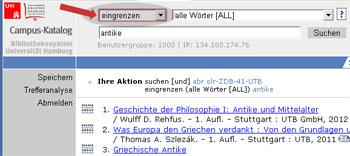 UTB E-Books im Campus-Katalog eingrenzen: Bspl: Antike