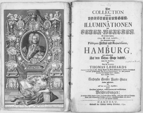 Lediard, Thomas: Eine Collection curieuser Vorstellungen in Illuminationen und Feuer-Wercken…  Hamburg: Stromer, 1730. Signatur Scrin C/295