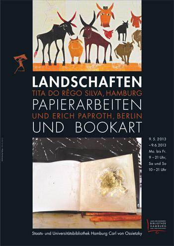 Plakat Ausstellung 'Landschaften'. Papierarbeiten und Bookart.