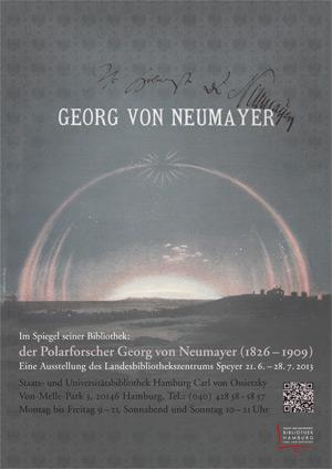 Plakat der Ausstellung 'Polarforscher Georg von Neumayer (21.6.-28.7.)'