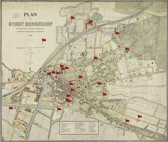 Karte von Bergedorf 1904, im Blog mit anklickbaren Fähnchen