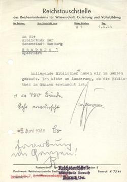 Schreiben der Reichstauschstelle 1944