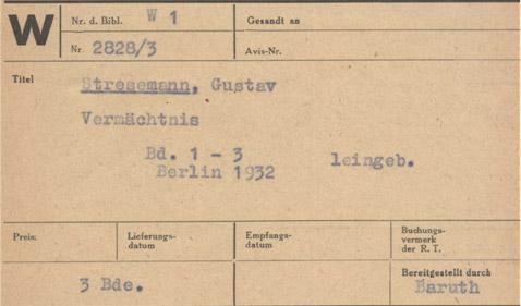 Nachgelassene Schriften Gustav Stresemanns