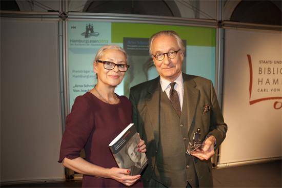 Gabriele Beger mit dem Preisträger von HamburgLesen 2013, Joachim Kersten