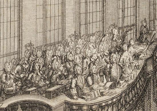 Aufführung der Bürgerkapitänsmusik 1719 von Matthias Christoph Wiedeburg im Drillhaus (Ausschnitt)