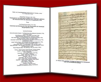 """Programmheft Erst-Wiederaufführung der Hamburger Bürgerkapitänsmusik 1780 von C.P.E. Bach und der Altonaer """"Jubel Music"""" 1760 von G.P. Telemann"""
