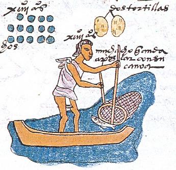 Darstellung eines Fischers im Codex Mendoza