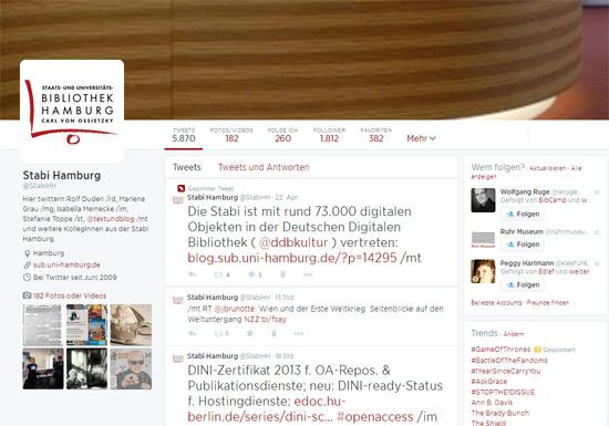 Auch die Stabi ist in Social Media unterwegs - Screenshot unseres Twitterkanals @StabiHH