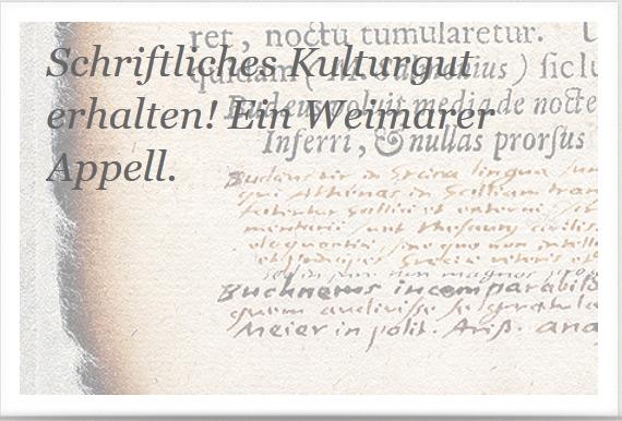 Weimarer Appell 'Schriftliches Kulturgut erhalten!'