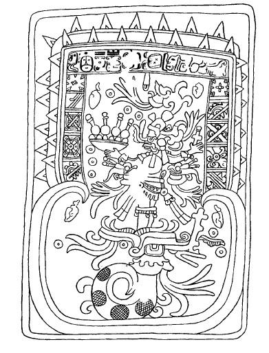 Chichen Itza (Yucatán), Gewölbedeckstein ohne Nummer, Gebäude 5C7 Zeichnung Loren Barton [in] Morley 1946:421, Fig. 52