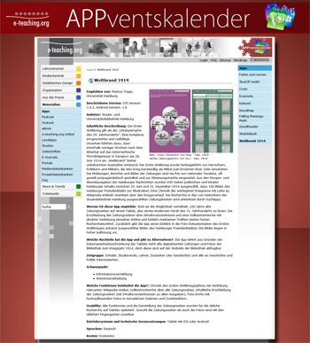 Weltbrand App im Adventskalender von e-teaching.org