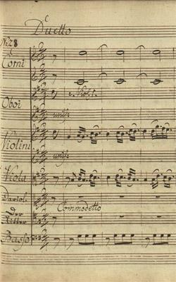 Johann Adam Hiller: Lisuart und Dariolette, Partiturabschrift um 1769 (SUB, ND VII 187)