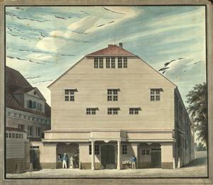 Carl Heinrich Kitzerow: Das Ackermannsche Comödienhaus, Aquarell, Hamburg 1832 (SUB, Theatersammlung, G 31)