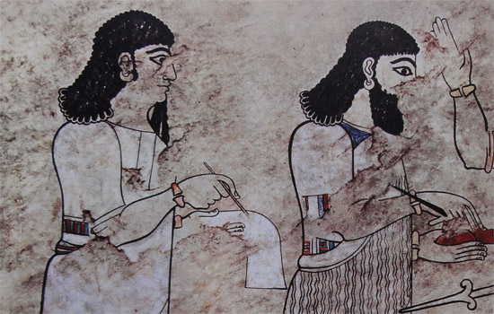 Fresko aus Tell Ahmar (Til Barsip) mit Schreibern für Aramäisch und Akkadisch