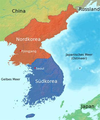 Karte mit Nord- und Süd-Korea