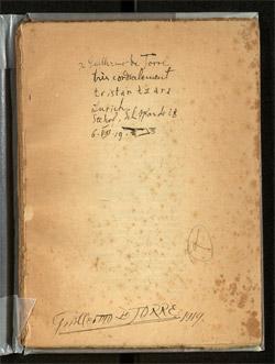 """Tristan Tzara schenkte ein Exemplar seiner """"Vingt-cinq poèmes""""  Guillermo de Torre am 6. August 1919 in Zürich"""
