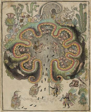 Darstellung von Chichomoztoc, entnommen der Historia Tolteca Chicimeca