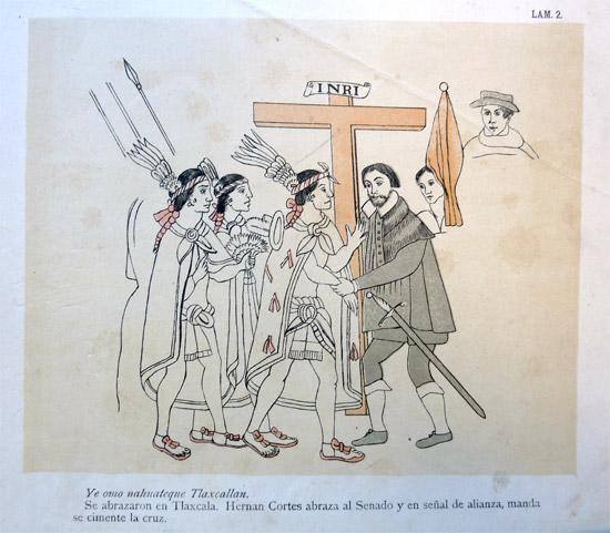 Hernán Cortés begrüßt aztekische Delegation