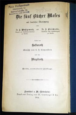 Titelseite mit Stempel von Felix Halberstadt