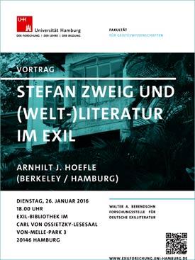 Plakat 'Stefan Zweig und (Welt-)Literatur im Exil'