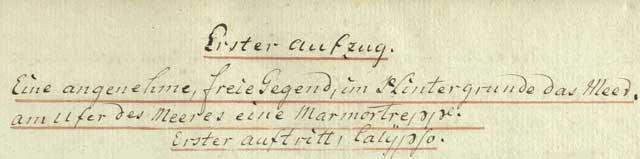 """Anfangsseite im Soufflierbuch der Hamburger Fassung des """"Telemach"""""""
