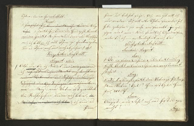 Streichungen des Zensors zeigen problematische Textstellen (Theater-Bibliothek : 477, fol. 28v-29r)