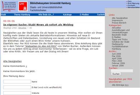 So sah das Stabi-Blog zu Anfang aus