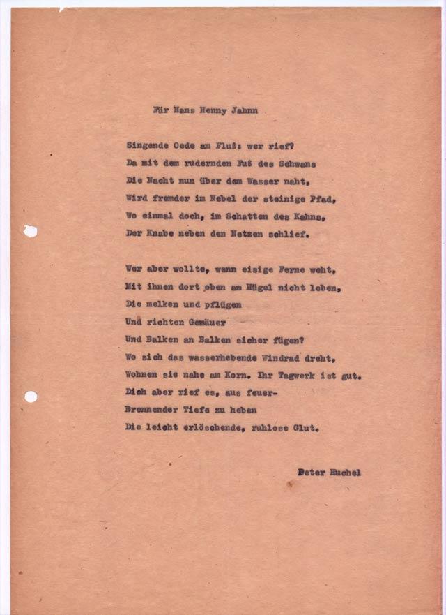 Peter Huchel: 'Für Hans Henny Jahnn'