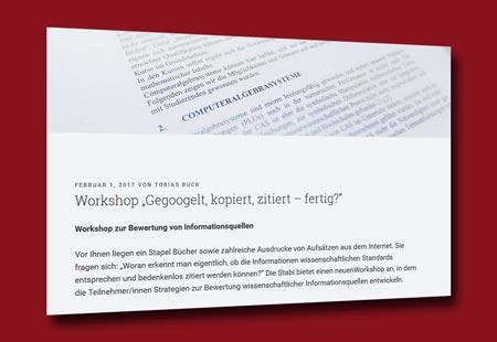 Workshop 'Gegoogelt, kopiert, zitiert – fertig?'