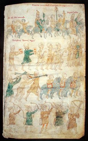 Cod. 120 II, fol. 102r: 'Triumphzug' des Normannen Tankreds als Usurpator in Palermo mit islamischen Musikanten