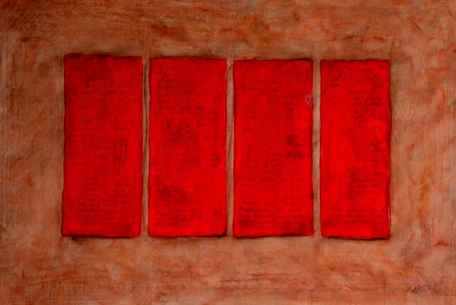 Briefe an den Horizont in Rot, 2015 60 x 80 cm, Tempera auf Leinwand