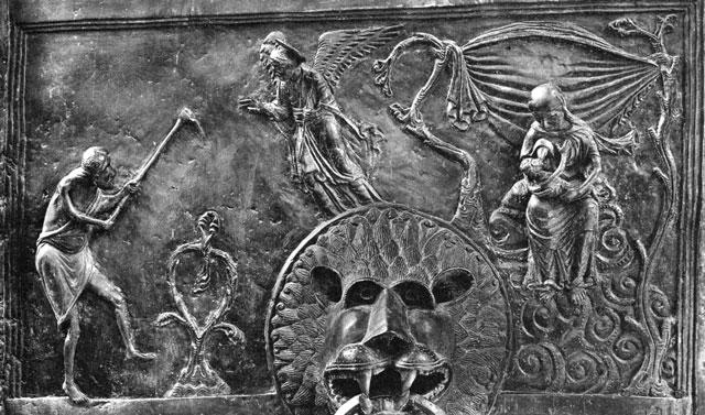 Abb. 2 Hildesheim, Dom, Bronzetür (um 1020), Detail: Adam und Eva: Erste Arbeiten