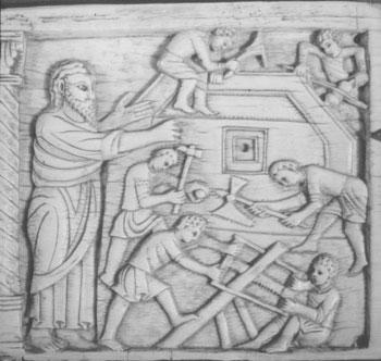 Abb. 3 Salerno, Museum des Doms zu San Matteo: Bau der Arche (aus: Jörg Zink, DiaBücherei. Christliche Kunst, Bd. 14, Eschbach 1985, S. 51)