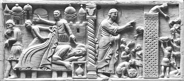 Abb. 4 Salerno, Museum des Doms zu San Matteo: Turmbau zu Babel (aus: Antonio Braca: Gli avori medievali del Museo Diocesano di Salerno, Salerno 1994, S. 31, Abb. XI)