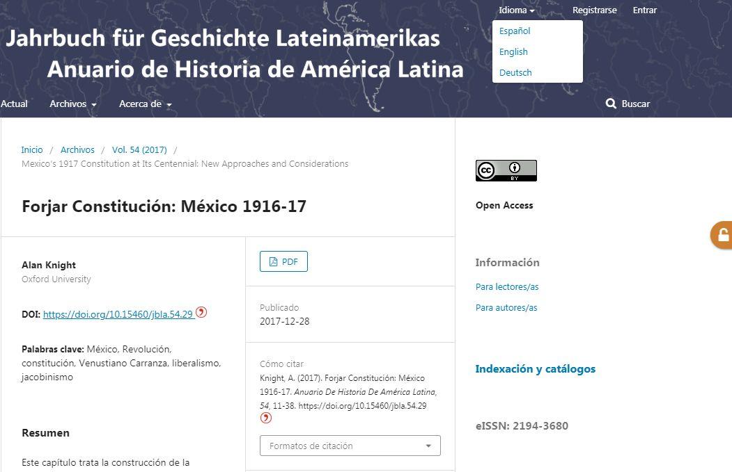 """Der dreisprachige Webauftritt des """"Jahrbuchs für Geschichte Lateinmaerikas"""""""