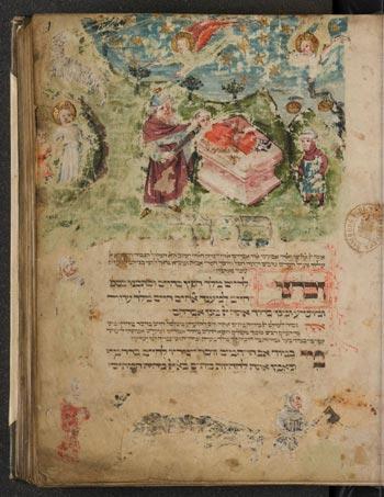 Abb. 4 SUB Hamburg, Cod. hebr. 37 (frühes 15. Jh.), fol. 1r Sammelhandschrift mit Sidur (Gebetbuch) mit Darstellung der Opferung Isaaks im oberen Bildstreifen