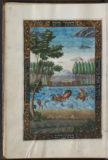Abb. 7 SUB Hamburg, Cod. Levy 22 (1751; Altona): Haggadot; Durchzug durchs Rote Meer