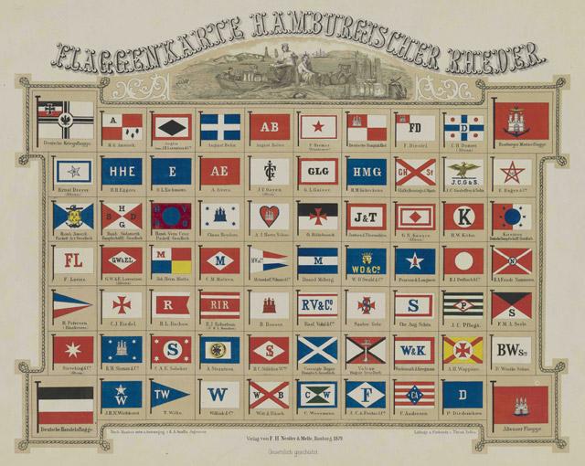 Flaggenkarte Hamburgischer Rheder