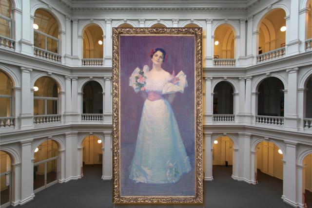 Collage aus Lichthof der Stabi und dem Ida Dehmel-Gemälde von Julie Wolfthorn