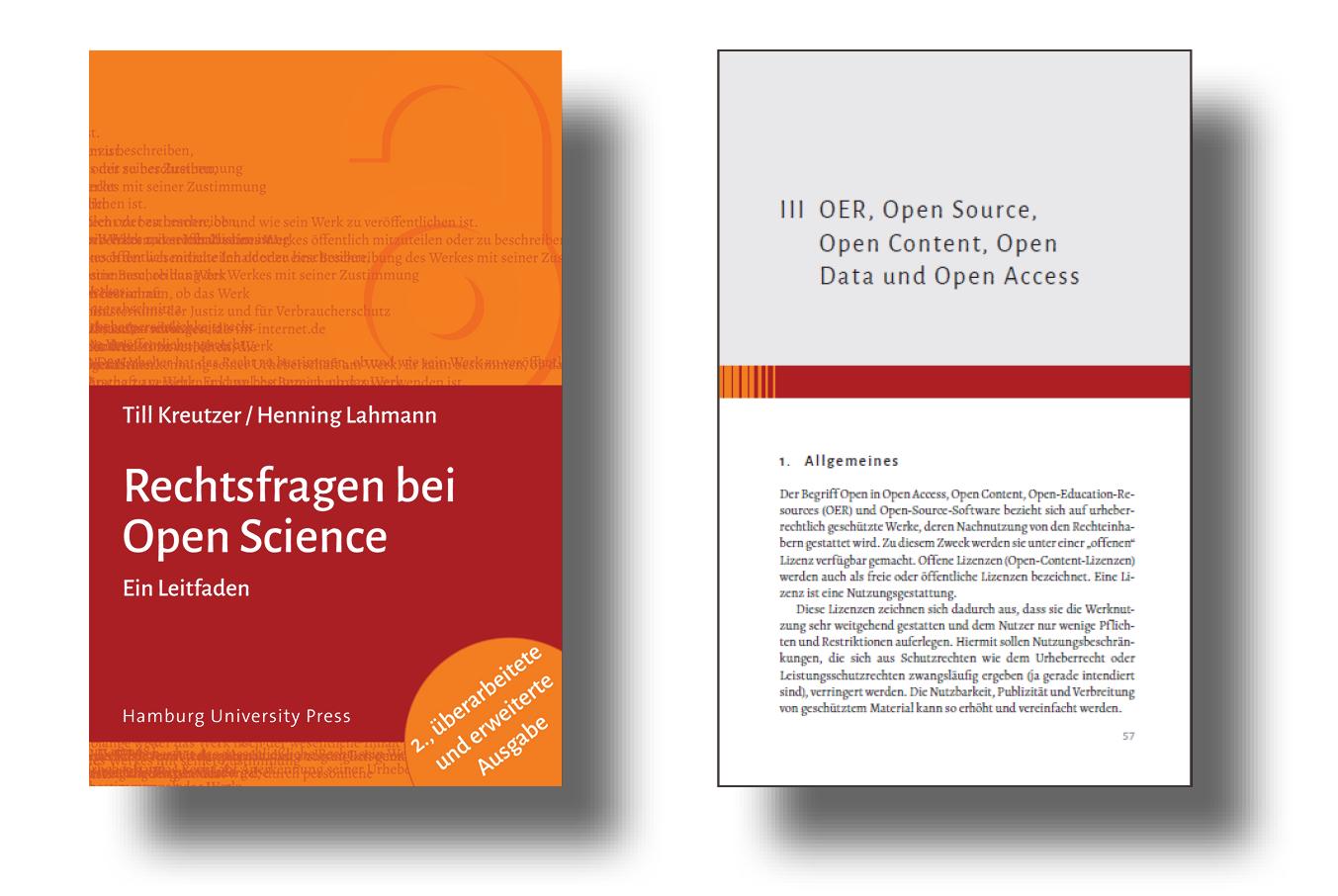 Cover und Seite aus dem Werk Rechtsfragen bei Open Science