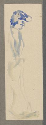 Borchert-Zeichnung 'Frau mit blauem Haar'